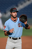 Second baseman Tyler Depreta-Johnson (2) of the Hickory Crawdads warms up before a game against the Greenville Drive on Wednesday, May 15, 2019, at Fluor Field at the West End in Greenville, South Carolina. Greenville won, 6-5. (Tom Priddy/Four Seam Images)