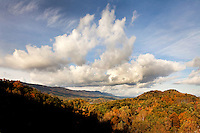 The North Carolina mountains (Blue Ridge Parkway) was a tapestry of brilliant oranges, reds and yellows as the leaves turned color during autumn 2009. The Blue Ridge Mountains are a popular spot for travelers, tourists and visitors seeking beautiful vistas of fall leaf foliage.