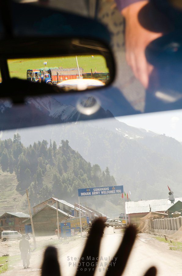 View through the jeep window of Sonamarg Army base, Srinagar to Leh road, Kashmir India.