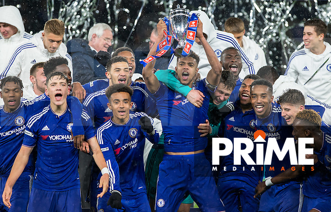 The Chelsea Team celebrates there win during the FA Youth Cup FINAL match between Chelsea U18 and Man City U18 at Stamford Bridge, London, England on 27 April 2016. Photo by Andy Rowland.