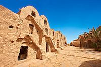 The northern Sahara ghorfa storage graneries of the traditional Berber mud brick fortified Ksar of Hedada or Hadada, near Tetouin, Tunisia, the setting of Mos Espa's Slave Quarters in Star Wars: Episode I The Phantom Menace.