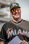 28 September 2014: Miami Marlins manager Mike Redmond walks the dugout prior to facing the Washington Nationals for the last game of the regular season at Nationals Park in Washington, DC. The Nationals shut out the Marlins with a 1-0 no-hitter going to Nationals pitcher Jordan Zimmermann. Mandatory Credit: Ed Wolfstein Photo *** RAW (NEF) Image File Available ***