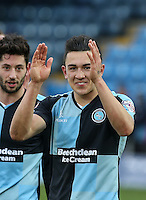 Luke O'Nien of Wycombe Wanderers celebrates the win during the Sky Bet League 2 match between Wycombe Wanderers and Bristol Rovers at Adams Park, High Wycombe, England on 27 February 2016. Photo by Andrew Rowland.