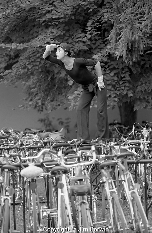 Mime performing looking for his bicycle