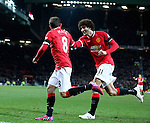 Juan Mata of Manchester United celebrates his goal with Marouane Fellaini of Manchester United - FA Cup Fourth Round replay - Manchester Utd  vs Cambridge Utd - Old Trafford Stadium  - Manchester - England - 03rd February 2015 - Picture Simon Bellis/Sportimage