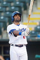 Oklahoma City Dodgers second baseman Micah Johnson (2) gets ready to bat during a game against the Omaha Storm Chasers at Chickasaw Bricktown Ballpark on June 16, 2016 in Oklahoma City, Oklahoma. Oklahoma City defeated Omaha 5-4  (William Purnell/Four Seam Images)