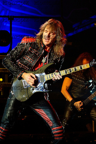 JUDAS PRIEST - guitarist Glenn Tipton - performingl live on the Retribution Tour at the Apollo Hammersmith in London UK - 16 Mar 2005.  Photo credit: George Chin/IconicPix