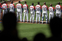 15 March 2009: Team Cuba stand during the national anthem prior to the 2009 World Baseball Classic Pool 1 game 1 at Petco Park in San Diego, California, USA. Japan wins 6-0 over Cuba.
