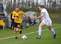 20190406  - Tubize , BELGIUM : Belgian Stephanie Pirotte (L) and Finland's Jenna Topra (R)pictured during the soccer match between the women under 19 teams of Belgium and Finland , on the second matchday in group 2 of the UEFA Women Under19 Elite rounds in Tubize , Belgium. Saturday 6 th April 2019 . PHOTO DIRK VUYLSTEKE / Sportpix.be