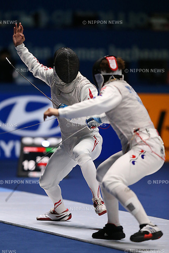 Ryo Miyake (JPN),<br /> SEPTEMBER 25, 2014 - Fencing : <br /> Men's Team Foil Semi-Final <br /> at Goyang Gymnasium <br /> during the 2014 Incheon Asian Games in Incheon, South Korea. <br /> (Photo by Shingo Ito/AFLO SPORT)