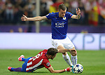 Atletico de Madrid's Saul Niguez (l) and Leicester City FC's Jamie Vardy during Champions League 2016/2017 Quarter-finals 1st leg match. April 12,2017. (ALTERPHOTOS/Acero)