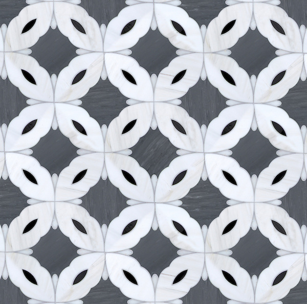 Sebastian (large), a handmade mosaic shown in Dolomite, Bardiglio, Nero and Afyon White, was designed by Sara Baldwin for New Ravenna.<br />