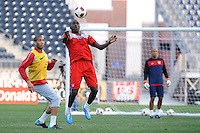 Jozy Altidore and Oguchi Onyewu of the United States (USA) men's national team during a practice session at PPL Park in Chester, PA, on October 11, 2010.