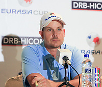 Henrik Stenson (Europe) during an interview after the Saturday Foursomes of the Eurasia Cup at Glenmarie Golf and Country Club on the 13th January 2018.<br /> Picture:  Thos Caffrey / www.golffile.ie
