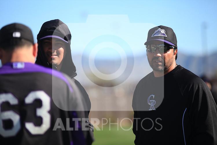Mexican Coache Vinicio Castilla  of Colorado Rockies  during the Spring Trainig 2013 in Sports Complex Salt River Fields at Talking Stick in Arizona. February 24, 2013