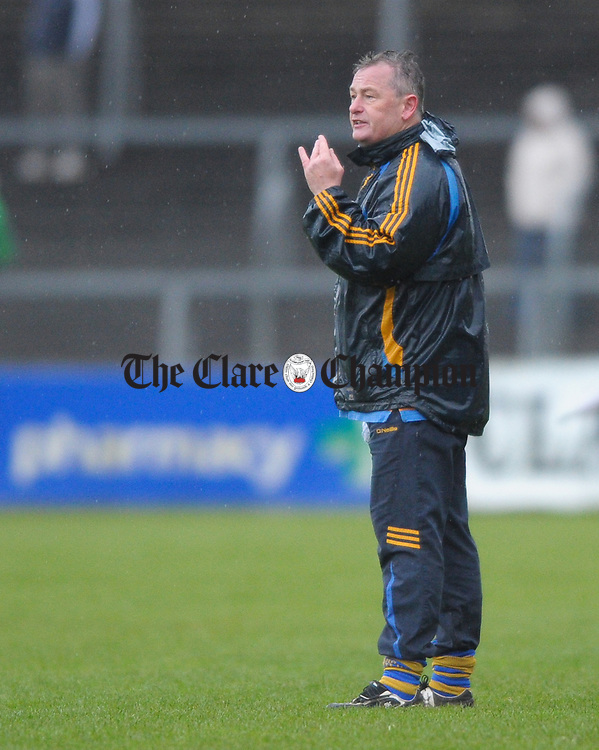 Newmarket selector Kevin Halpin on the sideline during the senior county hurling final at Cusack Park. Photograph by John Kelly.
