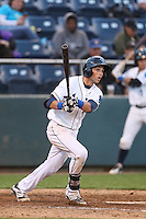 Jordan Cowan #3 of the Everett AquaSox bats against the Boise Hawks at Everett Memorial Stadium on July 22, 2014 in Everett, Washington. Everett defeated Boise, 6-0. (Larry Goren/Four Seam Images)