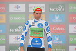 David Villella (ITA) Cannondale Drapac retains the climbers Polka Dot Jersey on the podium at the end of Stage 17 of the 2017 La Vuelta, running 180.5km from Villadiego to Los Machucos. Monumento Vaca Pasiega, Spain. 6th September 2017.<br /> Picture: Unipublic/&copy;photogomezsport   Cyclefile<br /> <br /> <br /> All photos usage must carry mandatory copyright credit (&copy; Cyclefile   Unipublic/&copy;photogomezsport)