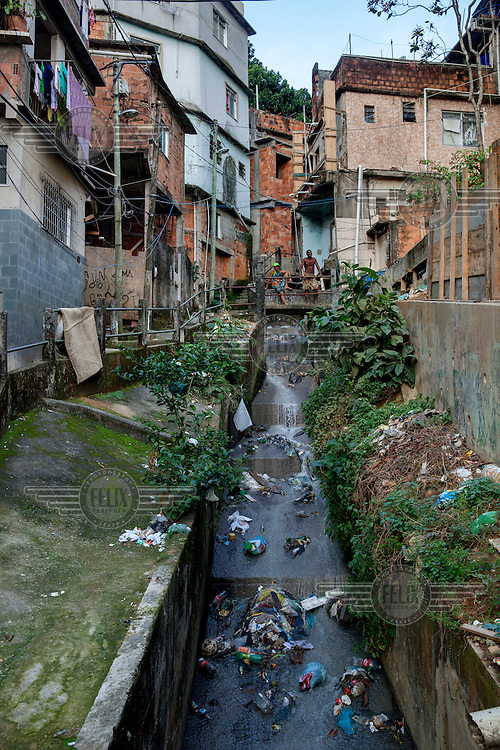 A rubbish strewn storm drain in the Rocinha favela.
