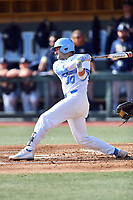 North Carolina Tar Heels second baseman Zack Gahagan (10) swings at a pitch during a game against the Pittsburgh Panthers at Boshamer Stadium on March 17, 2018 in Chapel Hill, North Carolina. The Tar Heels defeated the Panthers 4-0. (Tony Farlow/Four Seam Images)