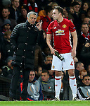 Manchester United manager Jose Mourinho gives instructions to Phil Jones during the UEFA Europa League match at Old Trafford, Manchester. Picture date: November 24th 2016. Pic Matt McNulty/Sportimage