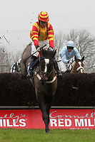 Race winner Trojan Sun ridden by Felix De Giles in jumping action in the Connollys Red Mills Racehorse Cubes Handicap Chase