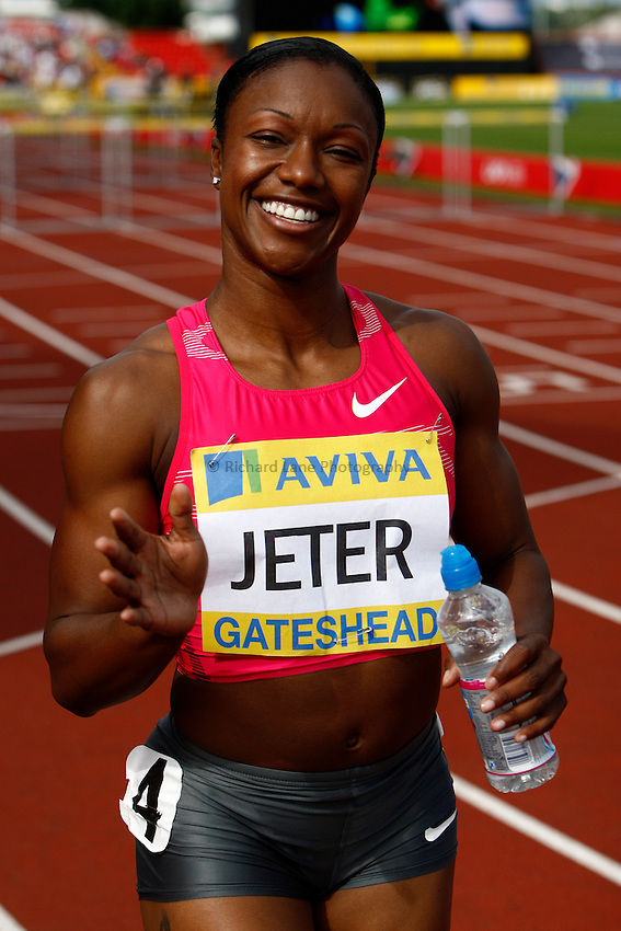 Photo: Richard Lane/Richard Lane Photography..Aviva British Grand Prix. 31/08/2009. USA's Carmelita Jeter after winning the women's 100m.