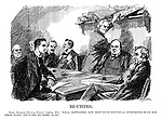 """Re-United. Prime minister (Shelving woman's suffrage bill). """"Well, gentlemen, now that your individual consciences have had their fling, let's get to work again."""" (Prime Minister Asquith at his cabinet meeting with David Lloyd George and Winston Churchill in the backrgound)"""