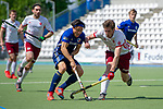 Mannheim, Germany, May 12: During the 1. Bundesliga Herren Feldhockey 2018/19 match between Mannheimer HC (blue) and Nuernberger HTC (white) on May 12, 2019 at Am Neckarkanal in Mannheim, Germany. Final score 6-0 (HT 3-0). (Photo by Dirk Markgraf / www.265-images.com) *** Local caption ***