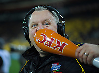 Radiosport commentator Matt Buck tastes the sponsor's product during the Super Rugby quarterfinal match between the Hurricanes and Chiefs at Westpac Stadium in Wellington, New Zealand on Friday, 20 July 2018. Photo: Dave Lintott / lintottphoto.co.nz