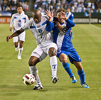 CARSON, CA – June 6, 2011: Honduras defender Osman Chavez (2) battles Guatemala player Henry David Lopez (11) during the match between Guatemala and Honduras at the Home Depot Center in Carson, California. Final score Guatemala 0, Honduras 0.