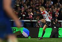 4th January 2020; Kingsholm Stadium, Gloucester, Gloucestershire, England; English Premiership Rugby, Gloucester versus Bath; Billy Twelvetrees of Gloucester kicks a conversion - Editorial Use