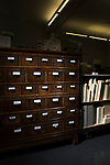 A refurbished card catalog now holds small tools used by Preservation Services in the University of Washington Libraries. Photo by Daniel Berman for UW Columns