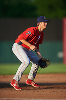 Williamsport Crosscutters third baseman Lucas Williams (12) during a game against the Auburn Doubledays on June 25, 2016 at Falcon Park in Auburn, New York.  Auburn defeated Williamsport 5-4.  (Mike Janes/Four Seam Images)