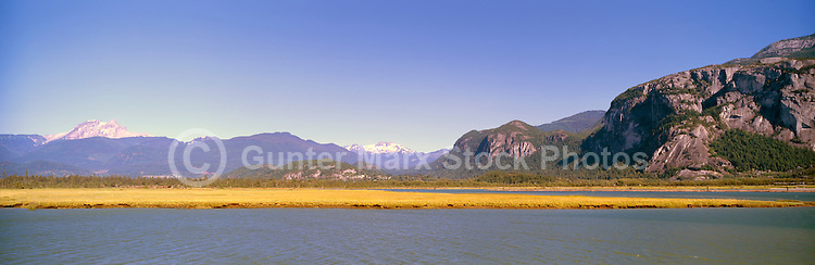 Squamish, BC, British Columbia, Canada - Panoramic View across Howe Sound to Stawamus Chief (Rock Climbing Mountain) and Coast Mountains, Summer