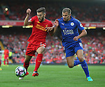 Adam Lallana of Liverpool tussles with Marc Albrighton of Leicester City during the Premier League match at Anfield Stadium, Liverpool. Picture date: September 10th, 2016. Pic Simon Bellis/Sportimage