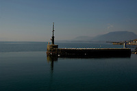Break water at Neuchatel harbour, Neuchatel lake, Switzerland.