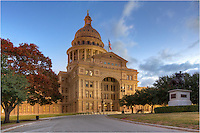 The trees were beginning to change at the Texas capitol building in Austin on this late November morning. In the right portion of this photo is the monument honors the Texas Rangers.