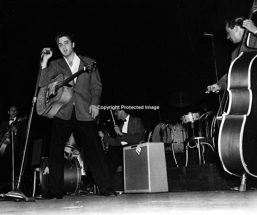 Elvis Presley performing in Oakland, California.<br />