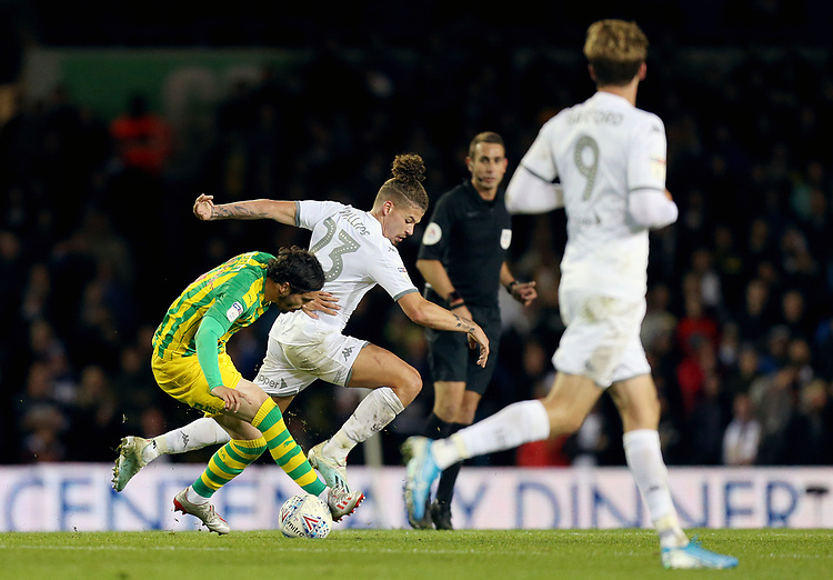 West Bromwich Albion's Filip Krovinovic vies for possession with Leeds United's Kalvin Phillips<br /> <br /> Photographer Rich Linley/CameraSport<br /> <br /> The EFL Sky Bet Championship - Tuesday 1st October 2019  - Leeds United v West Bromwich Albion - Elland Road - Leeds<br /> <br /> World Copyright © 2019 CameraSport. All rights reserved. 43 Linden Ave. Countesthorpe. Leicester. England. LE8 5PG - Tel: +44 (0) 116 277 4147 - admin@camerasport.com - www.camerasport.com