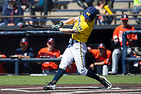 Michigan Wolverines designated hitter Nick Poirier (28) swings the bat against the Illinois Fighting Illini during the NCAA baseball game on April 8, 2017 at Ray Fisher Stadium in Ann Arbor, Michigan. Michigan defeated Illinois 7-0. (Andrew Woolley/Four Seam Images)