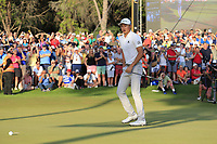 Haotong Li (CHN) misses his putt to win the playoff hole at the end of Sunday's Final Round of the 2018 Turkish Airlines Open hosted by Regnum Carya Golf &amp; Spa Resort, Antalya, Turkey. 4th November 2018.<br /> Picture: Eoin Clarke | Golffile<br /> <br /> <br /> All photos usage must carry mandatory copyright credit (&copy; Golffile | Eoin Clarke)