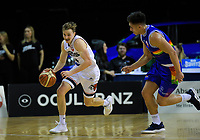 Emmett Naar (Rams) tries to get past Reuben TeRangi (Saints) during the National Basketball League match between Cigna Wellington Saints and Canterbury Rams at TSB Bank Arena in Wellington, New Zealand on Sunday, 23 June 2019. Photo: Dave Lintott / lintottphoto.co.nz