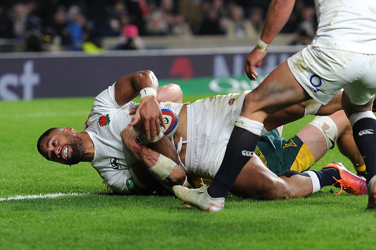 Joe Cokanasiga of England is stopped just short of the tryline during the Quilter International match between England and Australia at Twickenham Stadium on Saturday 24th November 2018 (Photo by Rob Munro/Stewart Communications)