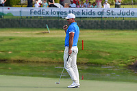 Brooks Koepka (USA) gives a fist bump after sinking his par putt to win the WGC FedEx St. Jude Invitational, TPC Southwind, Memphis, Tennessee, USA. 7/28/2019.<br /> Picture Ken Murray / Golffile.ie<br /> <br /> All photo usage must carry mandatory copyright credit (© Golffile | Ken Murray)