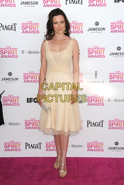Linda Cardellini.2013 Film Independent Spirit Awards - Arrivals Held At Santa Monica Beach, Santa Monica, California, USA,.23rd February 2013..indy indie indies indys full length white beige dress gold shoes clutch bag sheer .CAP/ROT/TM.©Tony Michaels/Roth Stock/Capital Pictures