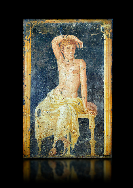 Detail of the Roman fresco wall painting of a young man resting from the  triclinium,  a formal dining room, of the Villa Arianna (Adriana), Stabiae (Stabia) near Pompeii , inv 9093, Naples National Archaeological Museum, black background