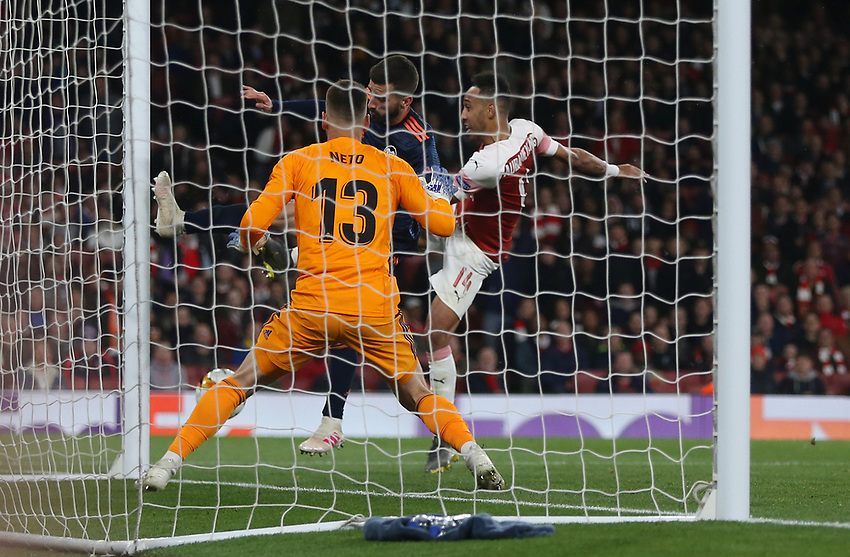 Arsenal's Pierre-Emerick Aubameyang scores his side's third goal<br /> <br /> Photographer Rob Newell/CameraSport<br /> <br /> UEFA Europa League Semi-final 1st Leg - Arsenal v Valencia - Thursday 2nd May 2019 - The Emirates - London<br />  <br /> World Copyright © 2018 CameraSport. All rights reserved. 43 Linden Ave. Countesthorpe. Leicester. England. LE8 5PG - Tel: +44 (0) 116 277 4147 - admin@camerasport.com - www.camerasport.com