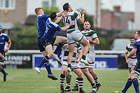 Seb Stegmann of Ealing Trailfinders collects a high ball during the British & Irish Cup Final match between Ealing Trailfinders and Leinster Rugby at Castle Bar, West Ealing, England  on 12 May 2018. Photo by David Horn / PRiME Media Images.