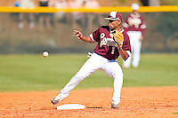 Jesse Mesa #1 of the College of Charleston Cougars keeps his eye on the ball at second base during the game against the Davidson Wildcats at Wilson Field on March 12, 2011 in Davidson, North Carolina.  The Wildcats defeated the Cougars 8-3.  Photo by Brian Westerholt / Four Seam Images